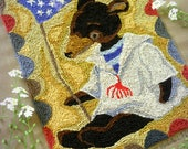 Patriotic Brown Black Teddy Bear Americana America Sailor Punch Needle Embroidery DIGITAL Jpeg PDF PATTERN Michelle Palmer Painting Threads