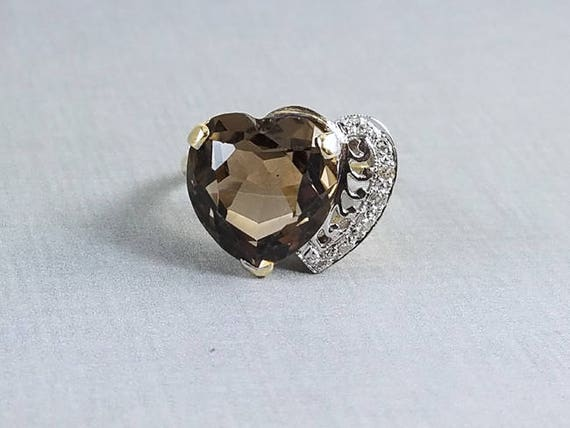 Modern estate 14k yellow and white gold 8 carat heart shaped smoky topaz quartz and diamond double hearts statement cocktail ring, size 8.5