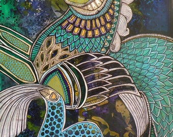 Original Sea Horse / Fantasy Art painting by Lynnette Shelley