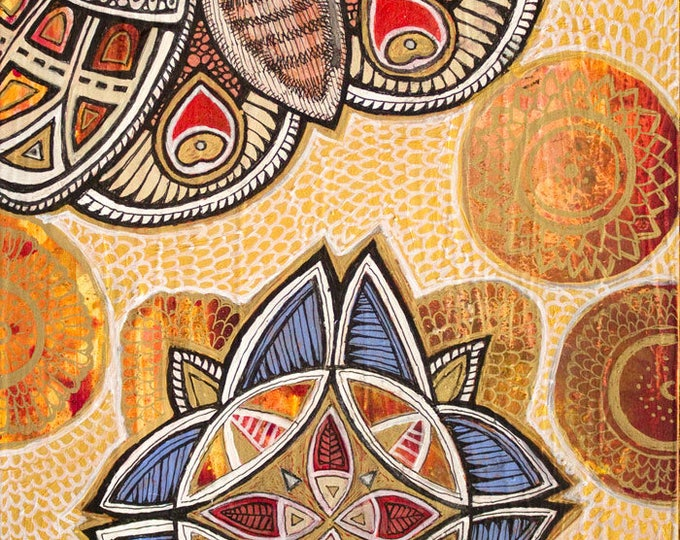 """Original """"Rise Above"""" Moth / Butterfly Mandala Painting by Lynnette Shelley"""