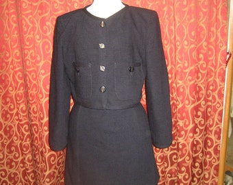 "Valentino 1980's, 38"" bust, navy blue boucle wool suit"