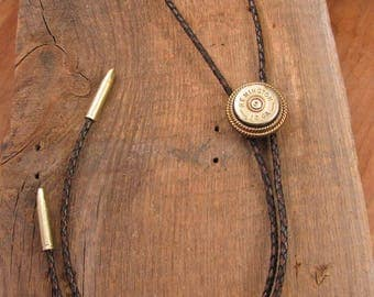 Bolo Tie - Western Wear - Men's Accessories - Antique Brass Handcrafted Shotgun Casing Bolo Tie - Men or Women's Leather Bolo Ties