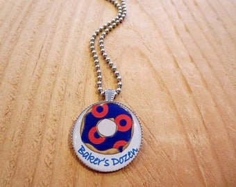 Bakers Dozen Phish Necklace for Summer Concert Festivals, Donut Photo Pendant for Musician, Blue and Red Jewelry, Fishman Gifts for Him