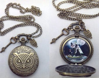 Upcycled Pocket Watch | Necklace | Wearable Art  | Nursery Rhyme Necklace | The Owl & The Pussycat