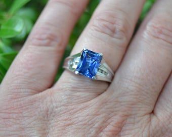 Sapphire and Diamond 10K White Gold Ring