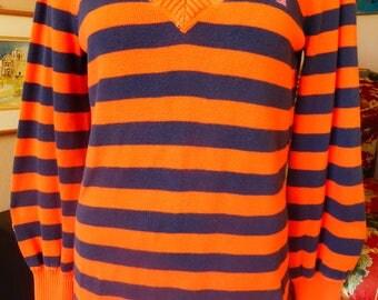 Vtg Ralph Lauren Polo Jeans Co V-Neck Pullover Sweater STRIPES 90s does 70s
