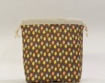 Mini Owls Small Drawstring Knitting Project Craft Bag - READY TO SHIP