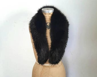 SALE Fox Black Collar / soft genuine fur / LARGE