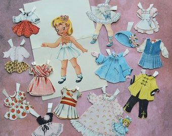Tiny Vintage Little Girl Stand Up Paper Doll and Clothes
