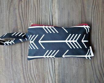Black Arrow Wristlet Clutch