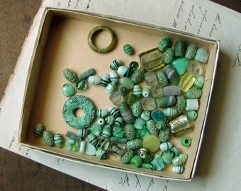 glass bead soup - mixed lot of sea green beads - instant stash for jewelry making - African recycled glass - Czech glass - vintage salvage