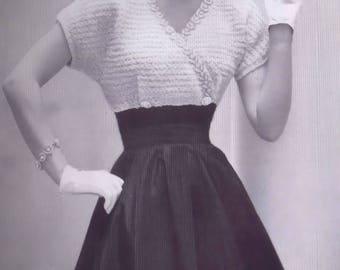 Vintage Crochet Surplice Blouse Monterey PDF Pattern Size Range 10-20 Bust 32.5-41 Inches Instant Download Digital 1950's e-Pattern Download
