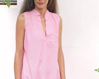 Chinese collar tunic  XL - XXL / Cotton tunic/ plus size /women's clothing /red and white strips/ sleeveless tunic / Boho chic / oversize
