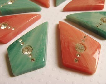 Pink and Aqua Vintage Lucite Art Deco Rhinestone Cabochon Pendants (8 pieces)