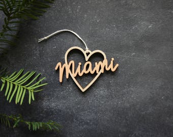 Miami Heart Christmas Ornament - Choose your color! | Christmas Ornament | Housewarming Gift | Christmas Gift | Miami Heart