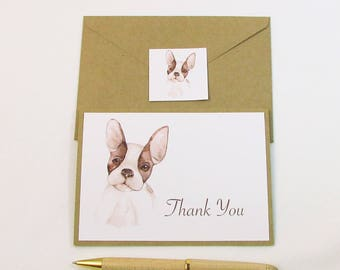 Dog Thank You Card / French Bulldog Watercolor Thank You Card / Dog Sitter Thank You Card