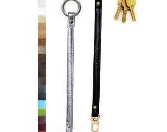 Leather Key Fob Tether - Your Choice of Leather Color & Gold or Nickel #16C LG Attachable Hook