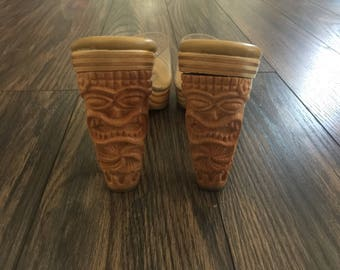 The Vintage Totem Pole Wood Heel Clear Shoes
