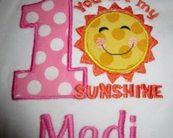 You are my Sunshine Birthday Onesie/Shirt