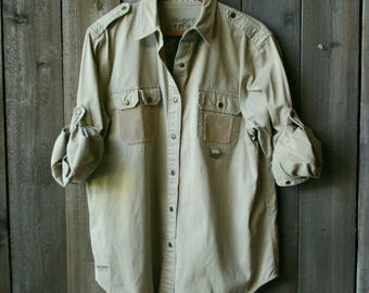 Mens Long Sleeve Shirt /Sportsman /Outback/ Australian/Outdoor/ Sand Color Vintage From Nowvintage on Etsy