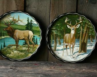 70s Wildlife Trays NW Cabin Decor Choose Elk or Deer Outdoorsman Vintage From Nowvintage on Etsy