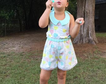"Girls Romper PDF Pattern ... Junie Bea Romper 3-12 plus 18"" doll ... girls playsuit pattern"