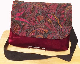 Maroon Paisley- Cross Body Bag