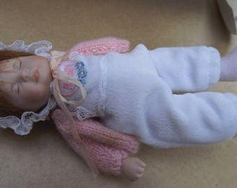 """Vintage 6.5"""" Miniature Bisque Sleeping Baby Doll Hand Painted L.E. 255/4000"""