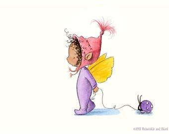 Maie Littletwig - Toddler Baby Nursery Fairy Art - Art Print