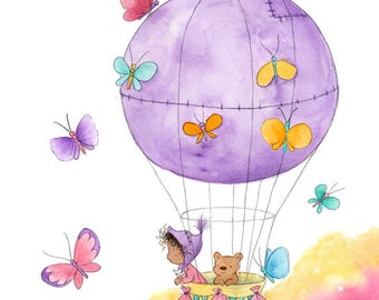 Butterfly Balloon - Toddler Baby in Hot Air Balloon with Teddy Bear - Brown Skin - Art Print