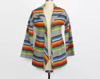 Vintage 70s Rainbow Jacket / 1970s Striped Hooded Cardigan Lightweight Jacket with Hood