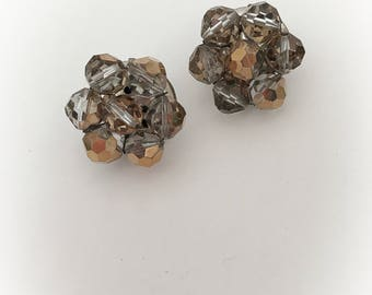 Vintage Gold Faceted  Plastic Bead Cluster Earrings Clip On