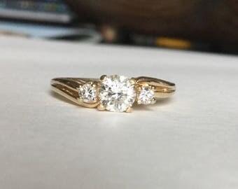 Diamond past present future ring 14k yellow gold 2/3 cttw