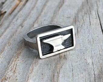 Sterling Silver Anvil Ring Handmade Metalsmith Ring By Wild Prairie Silver Jewelry Artist Joy Kruse