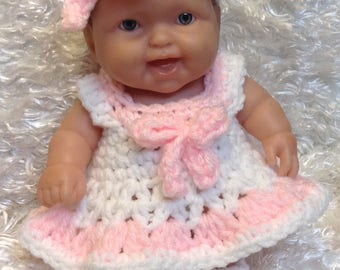 Clothes For 8 Inch And 10 inch Dolls. White/Pink  Dress Set