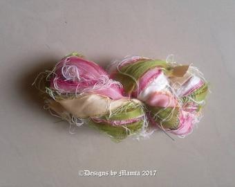 Pink Rose Inspired Silk Sari Ribbon, Pastel Colored Sari Ribbon, Silk Ribbon Yarn, Recycled Sari Silk Yarn, Spring Yarn, Colorful Art Yarn