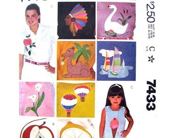 Vintage Embroidery Applique Transfer McCalls 7433 Fruit Sailboat Animals Flowers Pattern