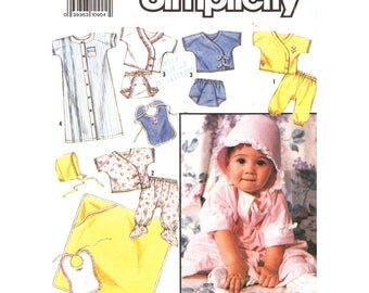 Baby Layette Pattern Crossover T-Shirt, Pants, Sacque, Diaper Cover, Hat, Hooded Towel Simplicity 7085 Size NB 6M 12M UNCUT