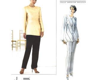 Lined Bias Jacket & Pants Pattern Vogue 2229 Designer Carolina Herrera Trouser Suit Womens Size 8 10 12 Sewing Pattern