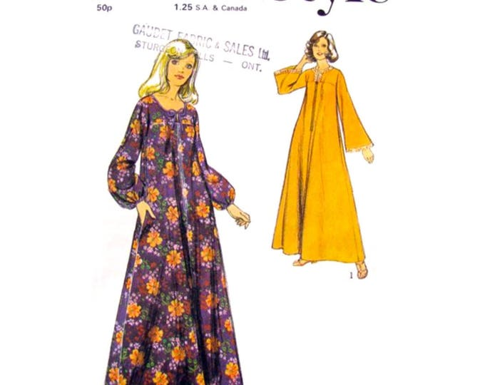 1970s Caftan Sewing Pattern Style 4469 Zipper Front Kaftan Bell Sleeve Women Size 12 14