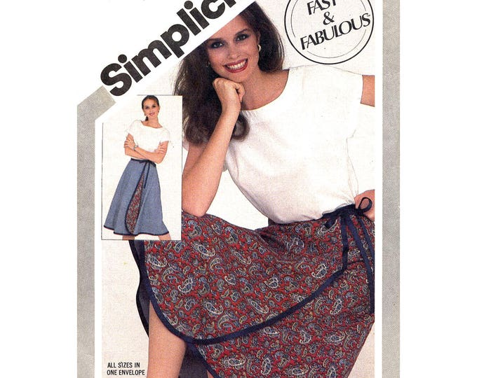 80s Wrap Skirt and Pullover Top Pattern Simplicity 5319 Reversible Skirt Size 6 to 20