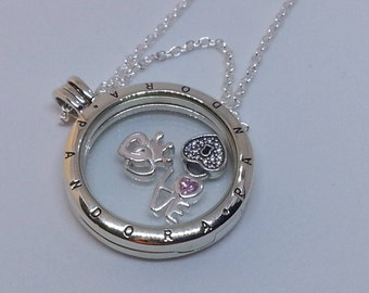 Authentic Medium Pandora Glass Floating Locket Necklace #590529-60 and Forever Heart Petites charms-792021pcz