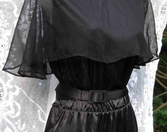 Formal Tank Dress 1980s 80s size 10 SHEER Cape American, little black dress, ladies cocktail party dress, formal dress, day or evening wear