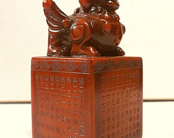 Large Chinese Shou Shan Stone FOO DOG Lion Stamp Seal Feng Shui 3in. Hand Carved
