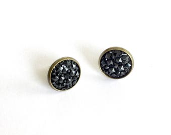 Pure black prism earrings. Black stud earrings. Black tie affair jewelry. Gifts under 10. Gifts for girls. Sparkly jewelry. Bridal party.