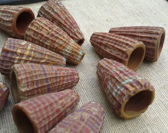 Dusty Brown and Sand - Rustic Carved Cones - hand carved rustic patterned cone pendants boho chic polymer clay (ready to ship)