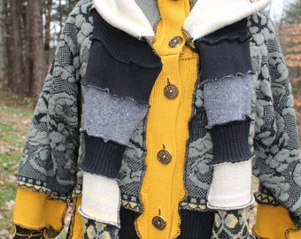 Upcycled sweater coat with removable hood/ scarf