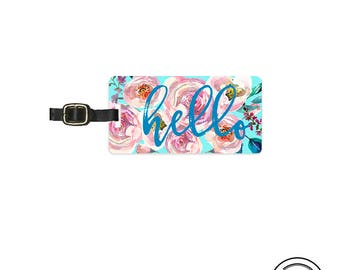Luggage Tag Hello Floral Shabby Cottage Chic Boho Beautiful  Metal Luggage Tag With Custom Info On Back, Single Tag