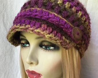 READY TO SHIP fits M to L Womens Hat, Beanie, Flower,  Multi, Purple Brown Yellow Chunky, Warm, Winter, Ski, Birthday Gifts for Her JE25N1