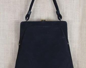 VINTAGE 1940's Trapezoid Black Velour Evening Bag * Handbag